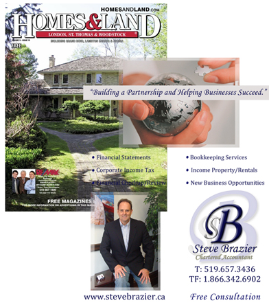 Houses and Land magazine London ontario Steve brazier chartered accountant accounting services